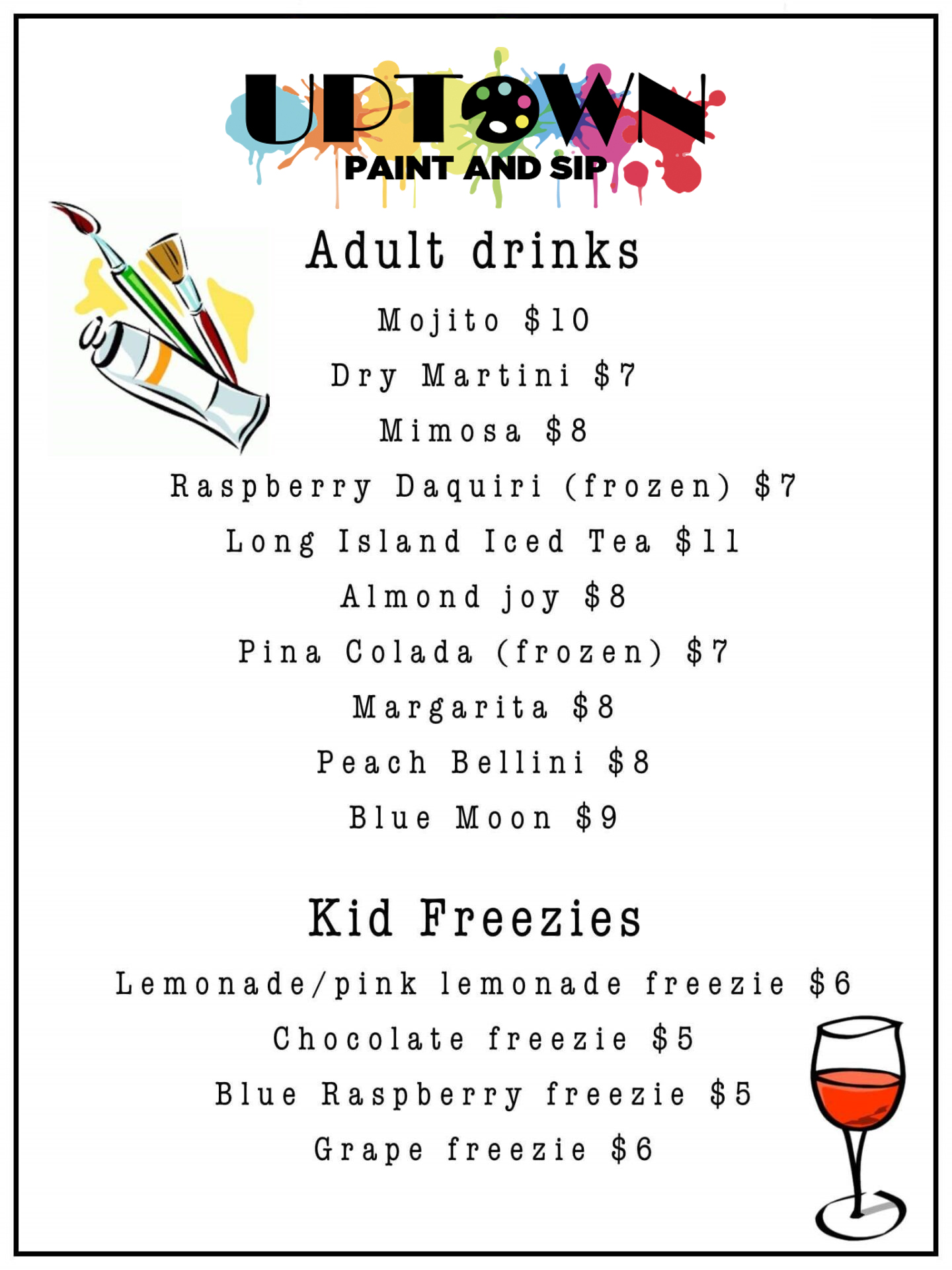 Uptown Paint and Sip Jupiter FL bar menu perfect for girls night out and date night