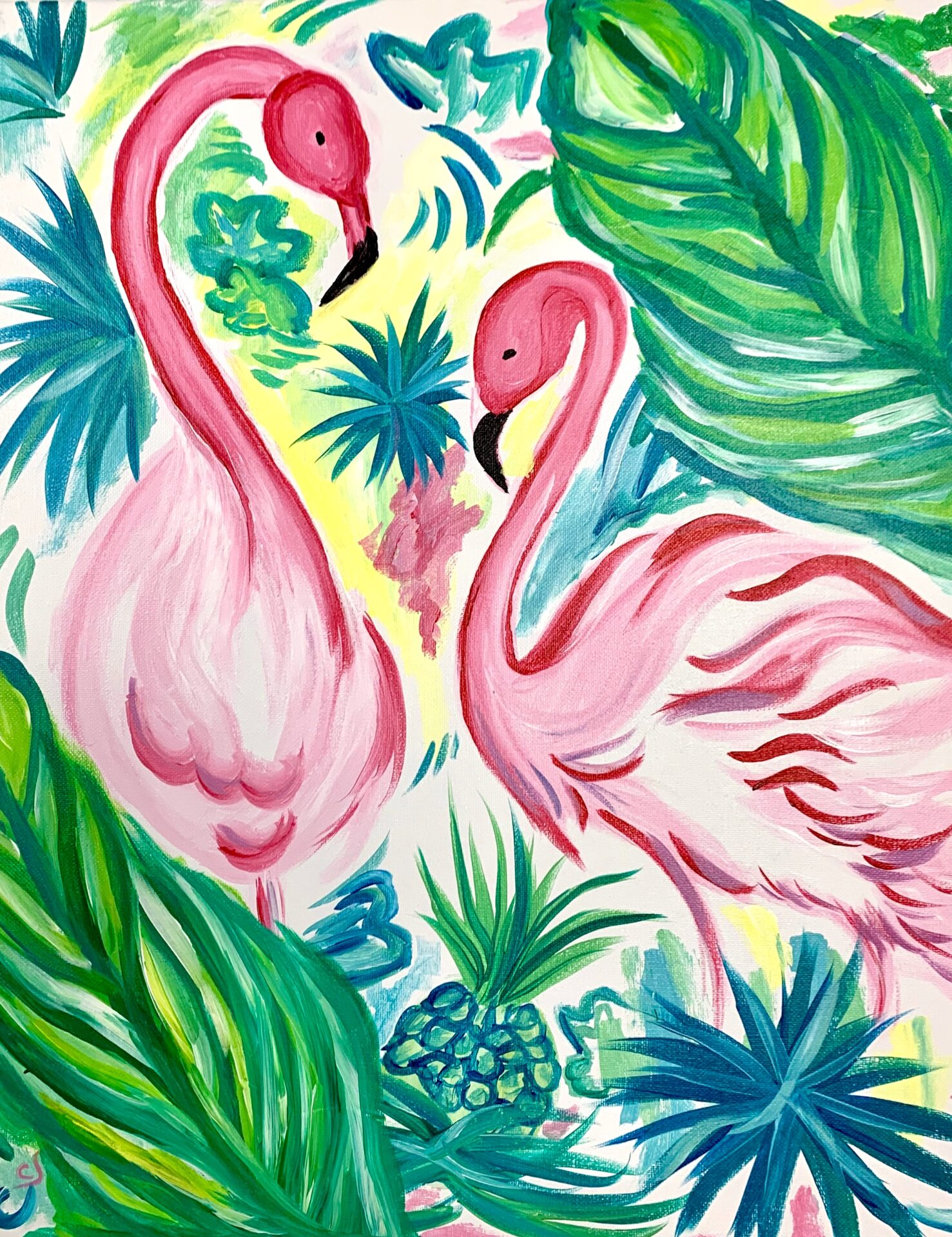 Flamingo's from uptown paint and sip perfect for girls night out ideas and a cute date night Jupiter FL