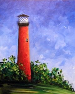 Jupiter Lighthouse from uptown paint and sip perfect for girls night out ideas and a cute date night Jupiter FL