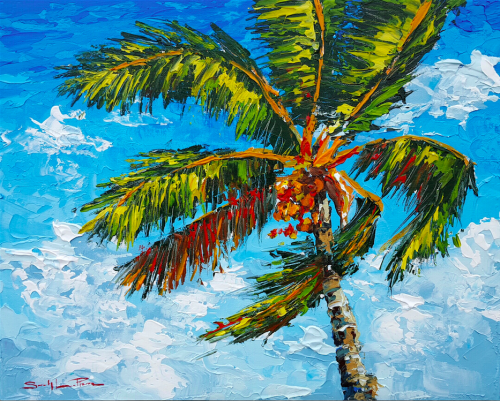 Palm Blowing from uptown paint and sip painting classes in Jupiter FL