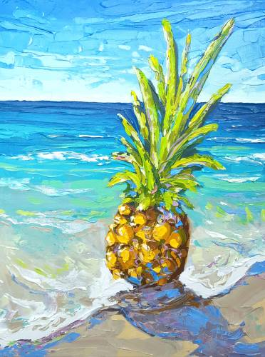 Pineapple Meets at the Beach by Sarah LaPierre from uptown paint and sip painting classes in Jupiter FL