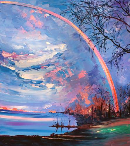 Rainbow at the Lake from uptown paint and sip painting classes in Jupiter FL