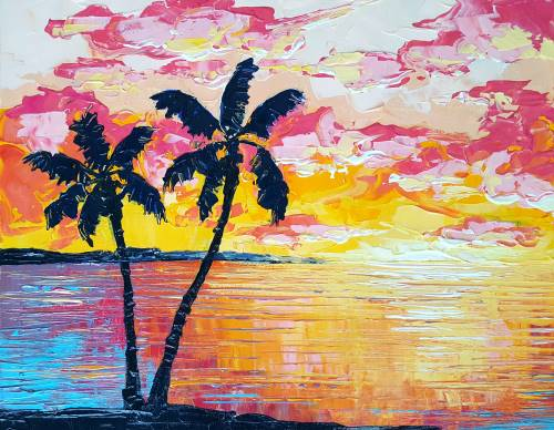 Sensational Sunset from uptown paint and sip painting classes in Jupiter FL