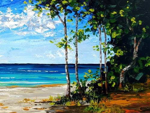 Trees by the Beach from uptown paint and sip painting classes in Jupiter FL