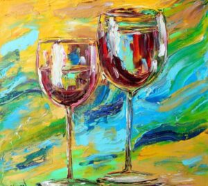 Red Wine for Two from uptown paint and sip painting classes in Jupiter FL