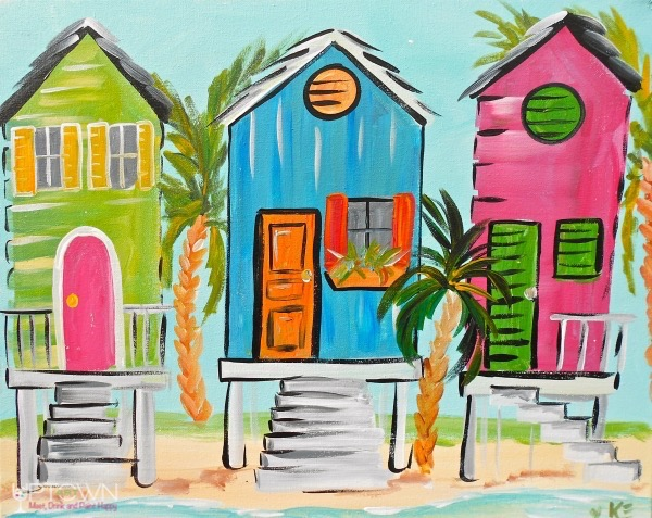 Beach Houses from uptown paint and sip perfect for girls night out ideas and a cute date night Jupiter FL