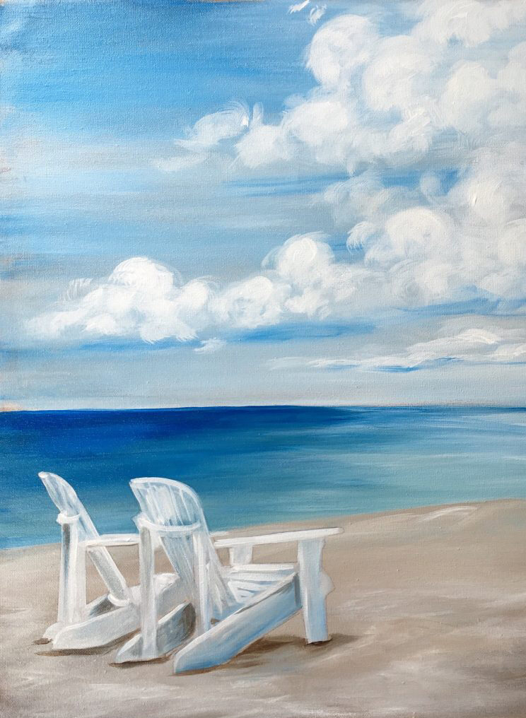 Just Beachin - Add your own sunset from uptown paint and sip perfect for girls night out ideas and a cute date night Jupiter FL