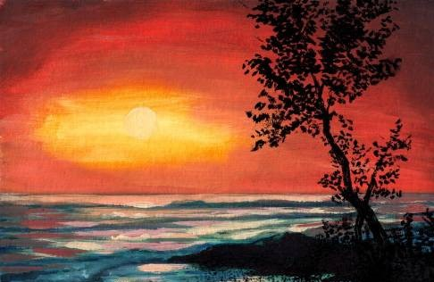 Orange Sunset from uptown paint and sip painting classes in Jupiter FL
