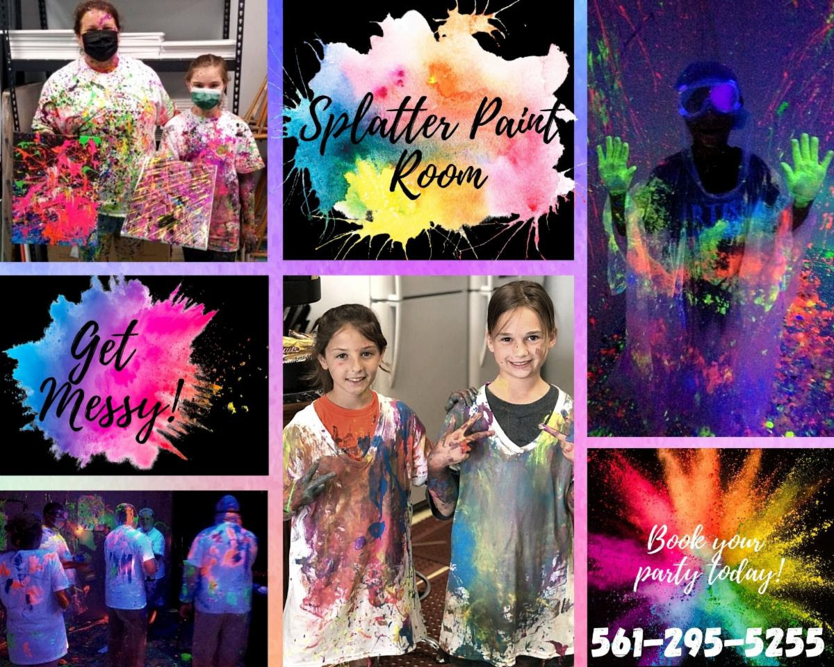 Splatter Paint Room at Uptown Paint and Sip in Jupiter FL fun painting classes for a girls night out or date nights