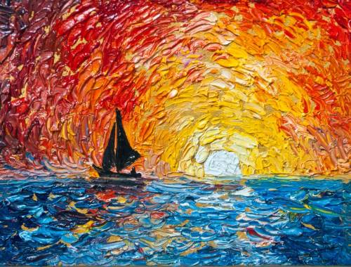 Sunset Sail Fingerpainting from uptown paint and sip perfect for girls night out ideas and a cute date night Jupiter FL