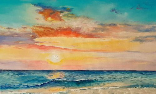 Sunset meets the Ocean from uptown paint and sip perfect for girls night out ideas and a cute date night Jupiter FL