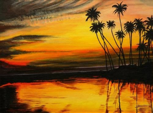 Tropical Sunset from uptown paint and sip perfect for girls night out ideas and a cute date night Jupiter FL
